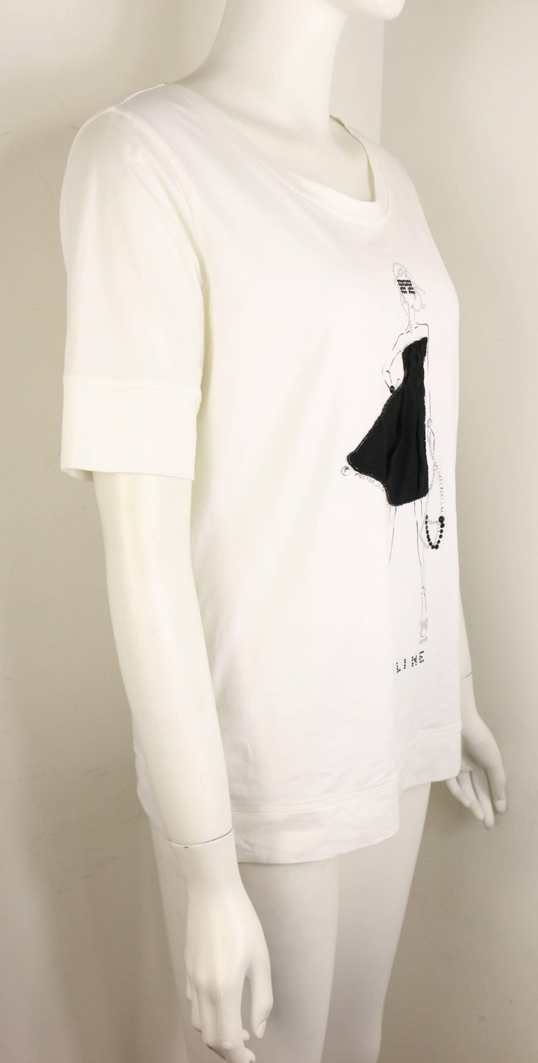 Gray Celine White with Black and Rhinestones Girl Print Cotton T Shirt For Sale