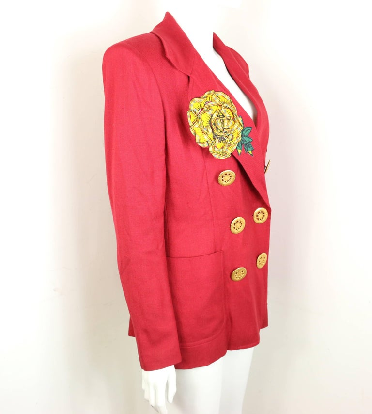 Christian Lacroix Red with Yellow Ruffle Sunflower Double Breasted Blazer In Excellent Condition For Sale In Sheung Wan, HK