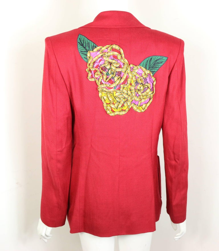 Christian Lacroix Red with Yellow Ruffle Sunflower Double Breasted Blazer For Sale 1