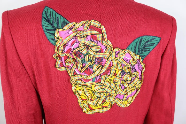 Christian Lacroix Red with Yellow Ruffle Sunflower Double Breasted Blazer For Sale 2