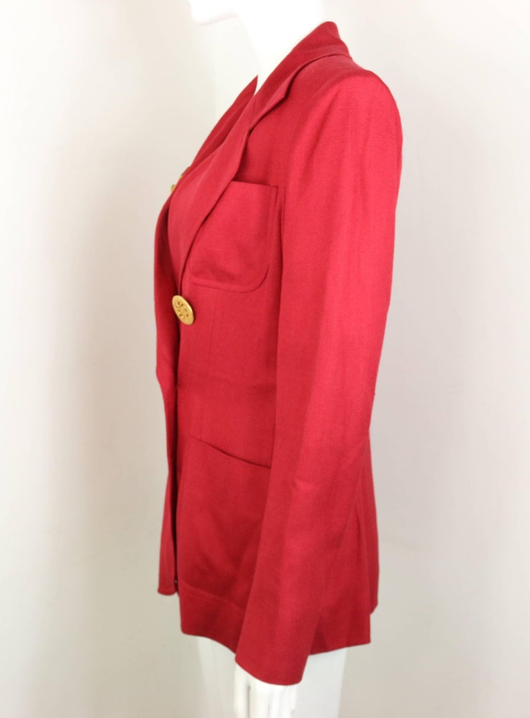 Christian Lacroix Red with Yellow Ruffle Sunflower Double Breasted Blazer For Sale 3