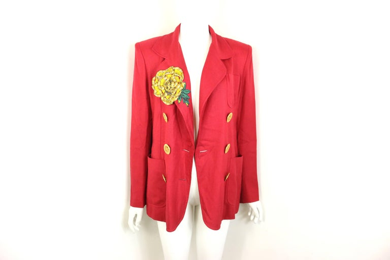 Christian Lacroix Red with Yellow Ruffle Sunflower Double Breasted Blazer For Sale 4