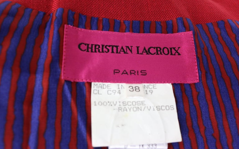 Christian Lacroix Red with Yellow Ruffle Sunflower Double Breasted Blazer For Sale 5
