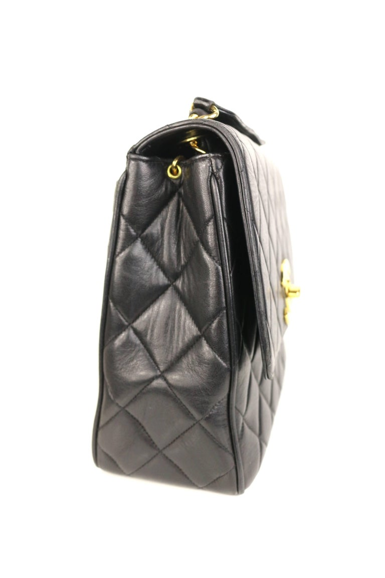 Chanel Classic Black Quilted Lambskin Gold Toned