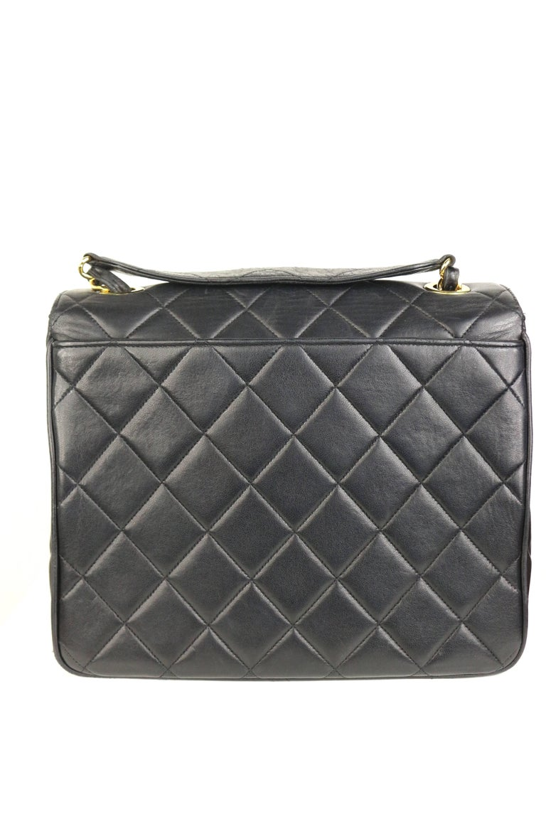 Women's or Men's Chanel Classic Black Quilted Lambskin Gold Toned