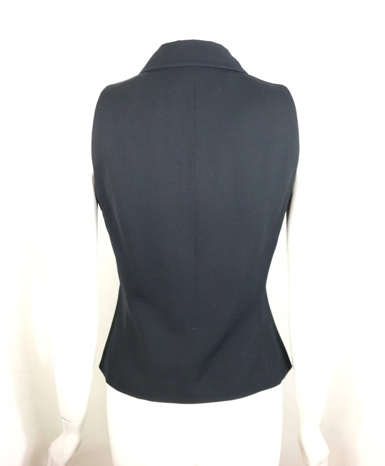 Women's Jil Sander Black Viscose and Wool Notch Lapel Vest For Sale