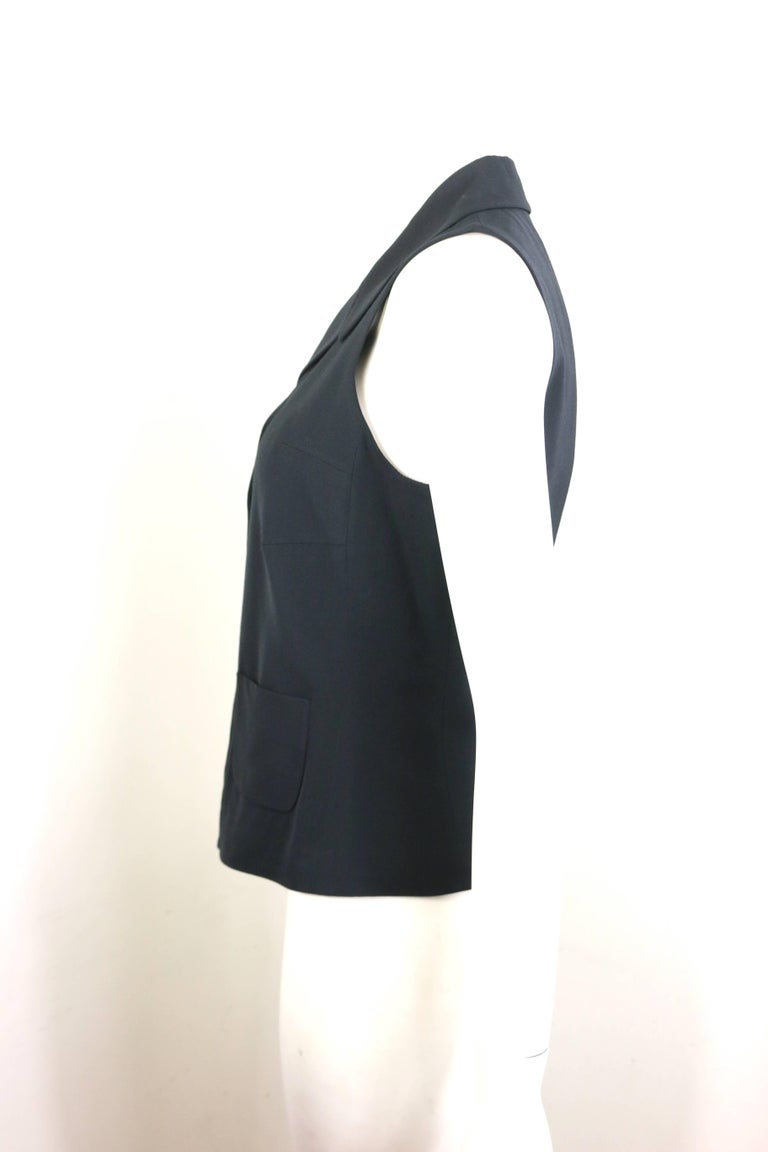 Jil Sander Black Viscose and Wool Notch Lapel Vest In Excellent Condition For Sale In Sheung Wan, HK
