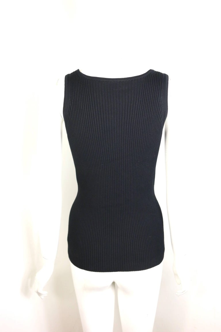 Women's Chanel Black Cotton Knitted Tank Top For Sale