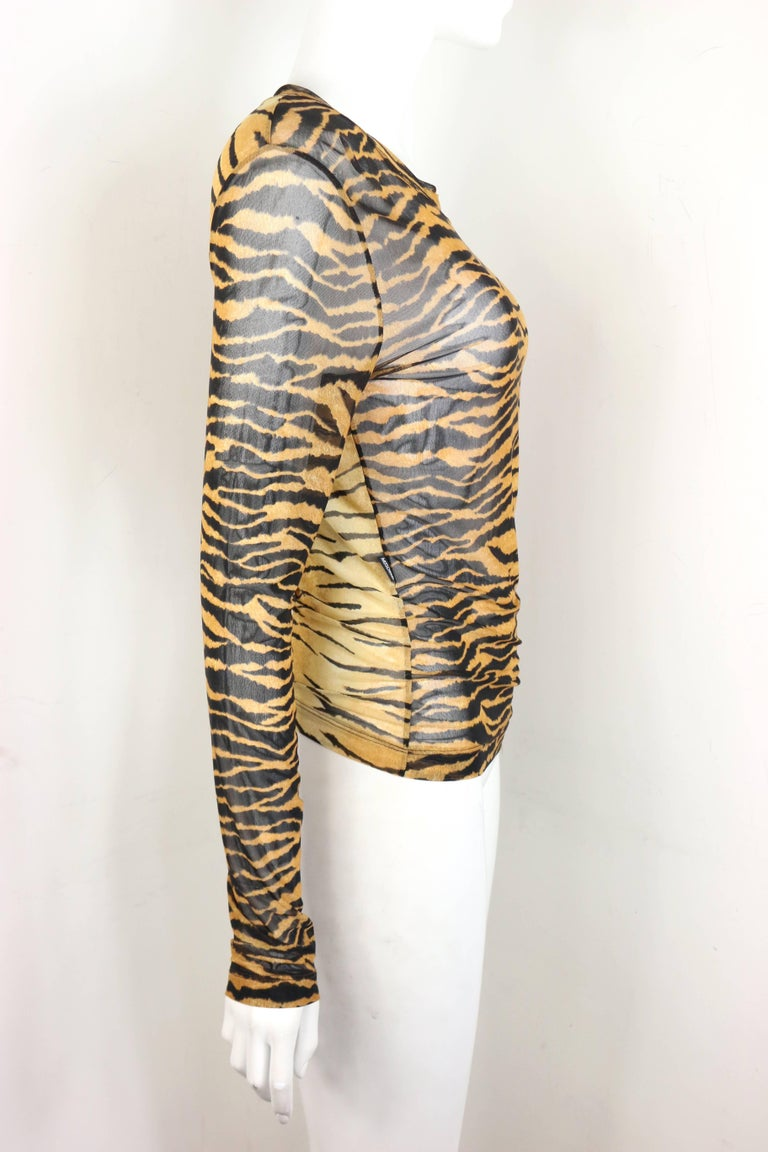 Beige Moschino Jeans Leopard Pattern Nylon See-Through Long Sleeves Top For Sale