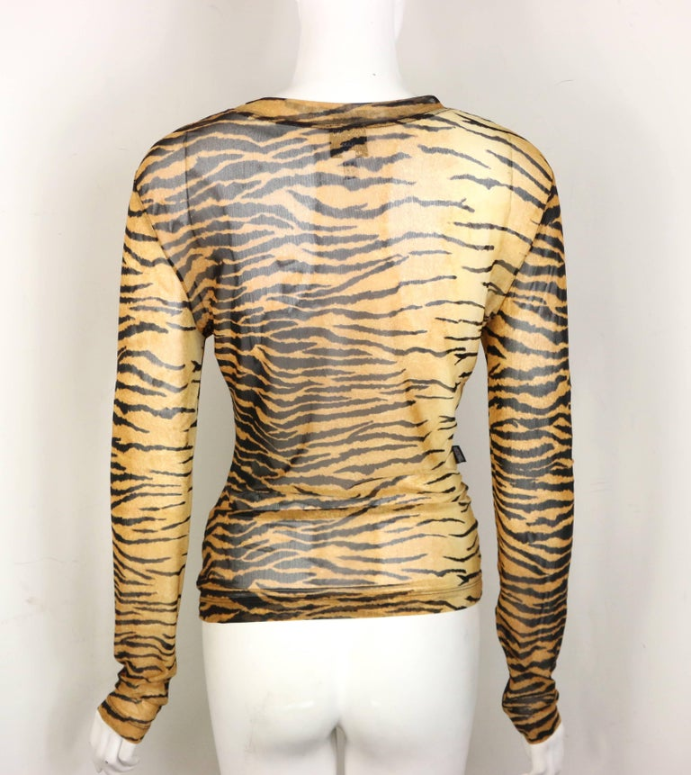 Moschino Jeans Leopard Pattern Nylon See-Through Long Sleeves Top In Excellent Condition For Sale In Sheung Wan, HK