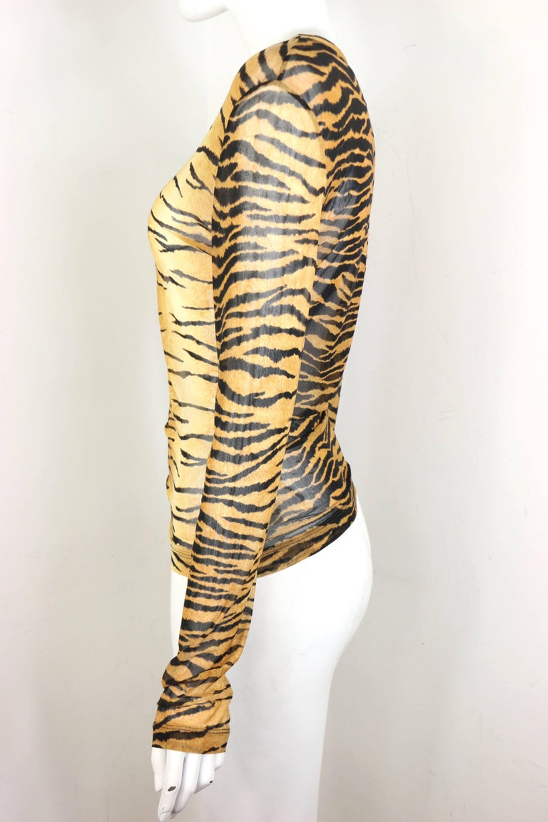 Women's Moschino Jeans Leopard Pattern Nylon See-Through Long Sleeves Top For Sale