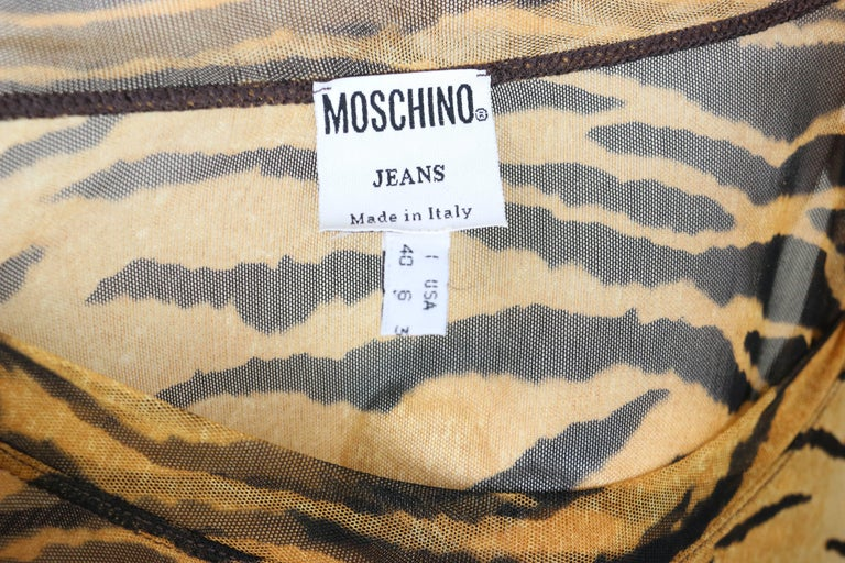 Moschino Jeans Leopard Pattern Nylon See-Through Long Sleeves Top For Sale 1