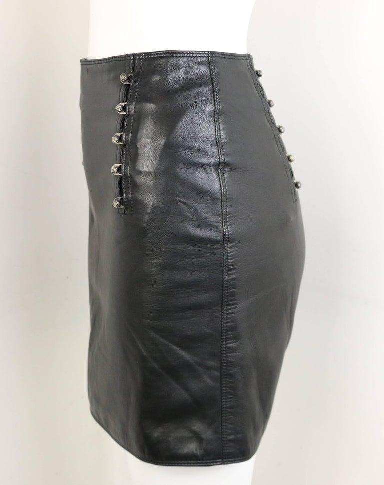Women's Gianni Versace Black Lambskin Leather