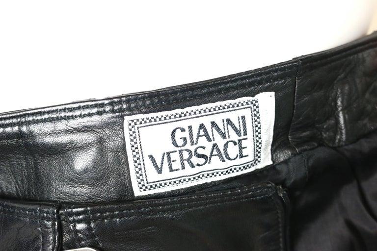 Gianni Versace Black Lambskin Leather