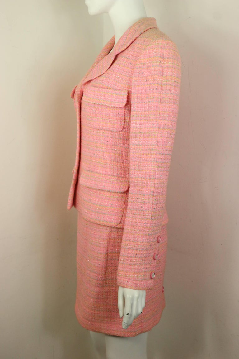 Women's Chanel Multi Coloured Pink Tweed Jacket and Skirt Ensemble  For Sale