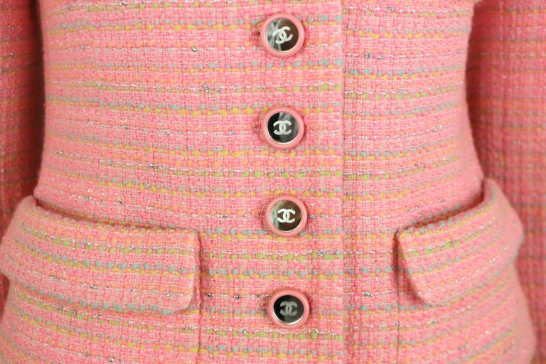 - Vintage Chanel multicolored(blue, green, yellow, orange, pink and silver aluminum paper like) tweed jacket and skirt ensemble from the year 1995C collection.   - Featuring pink and mirror