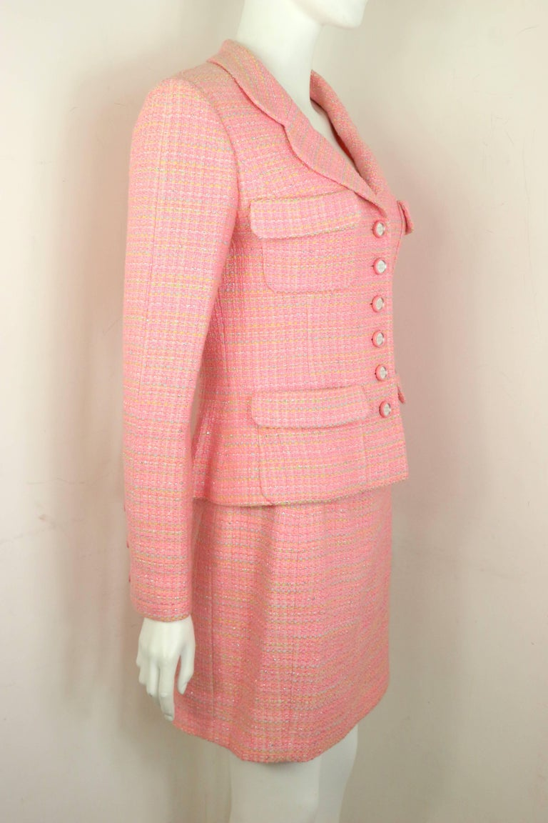 Chanel Multi Coloured Pink Tweed Jacket and Skirt Ensemble  In Excellent Condition For Sale In Sheung Wan, HK