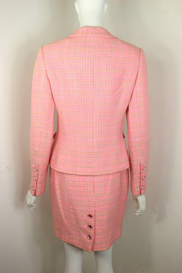 Chanel Multi Coloured Pink Tweed Jacket and Skirt Ensemble  For Sale 1