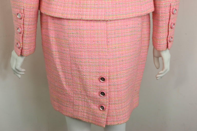 Chanel Multi Coloured Pink Tweed Jacket and Skirt Ensemble  For Sale 2