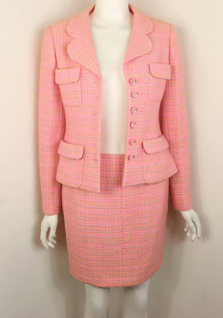 Chanel Multi Coloured Pink Tweed Jacket and Skirt Ensemble  For Sale 3