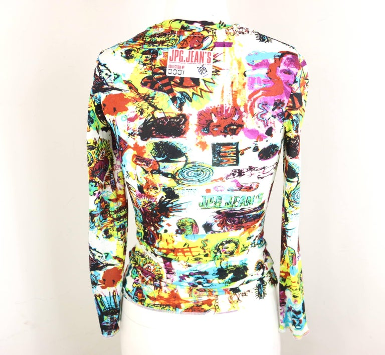 Jean Paul Gaultier Jeans Colourful Print White Long Sleeves T-Shirt  For Sale 1