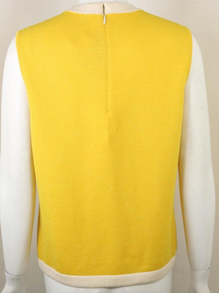 Women's St John Yellow Cotton Sleeveless Top For Sale