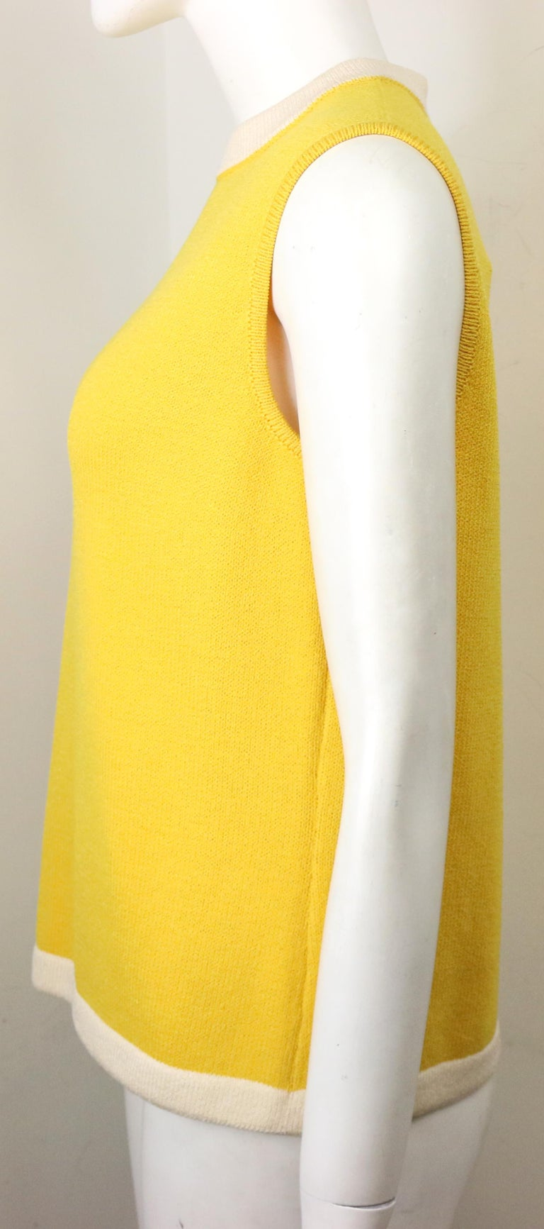 St John Yellow Cotton Sleeveless Top In Excellent Condition For Sale In Sheung Wan, HK