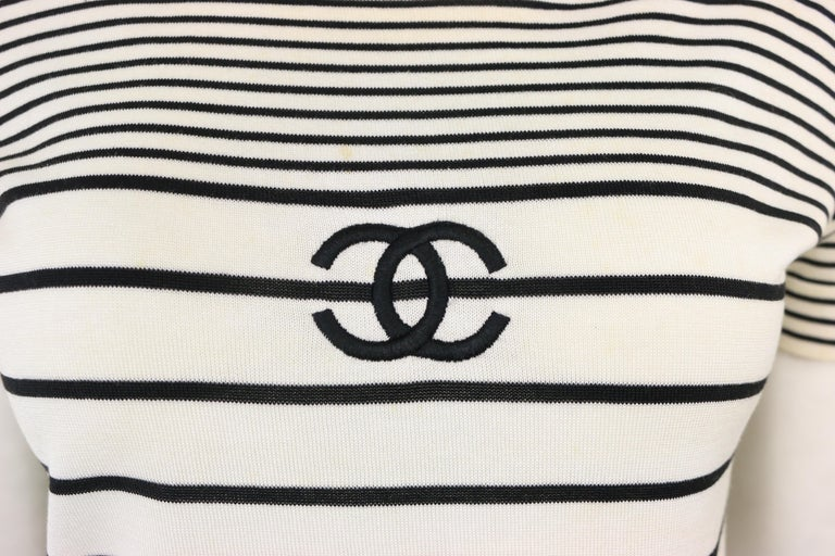 - Vintage Chanel cotton black and white stripe