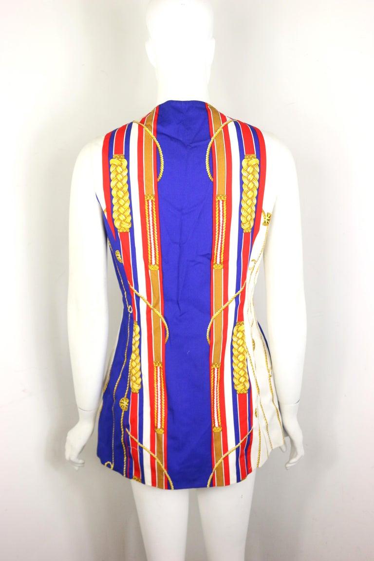 Beige Trussardi Jeans Cotton Multi-Coloured Unique Patterned Long Vest  For Sale
