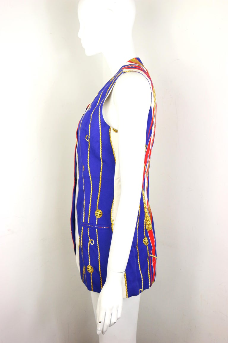 Trussardi Jeans Cotton Multi-Coloured Unique Patterned Long Vest  In New Condition For Sale In Sheung Wan, HK