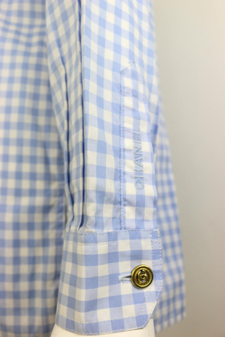 Chanel Cotton Blue and White Check Shirt and Short Pants Ensemble  For Sale 2
