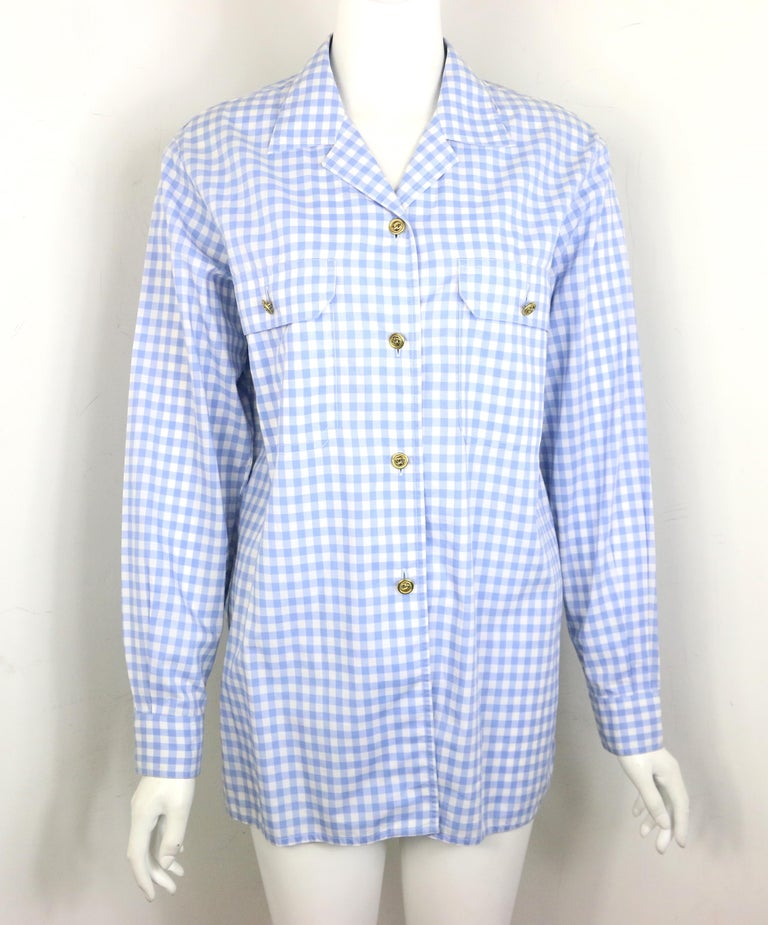 - Vintage 90s Chanel cotton blue and white check shirt and short pants ensemble.   - Featuring gold-toned