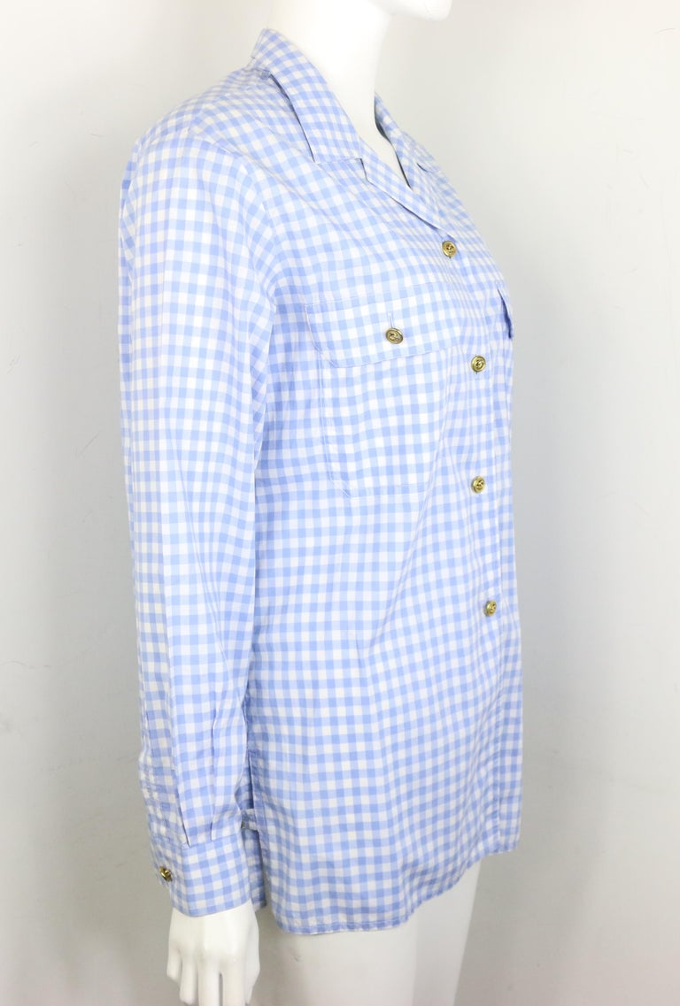 Chanel Cotton Blue and White Check Shirt and Short Pants Ensemble  In Excellent Condition For Sale In Sheung Wan, HK