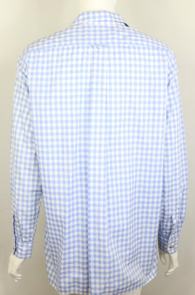 Women's Chanel Cotton Blue and White Check Shirt and Short Pants Ensemble  For Sale