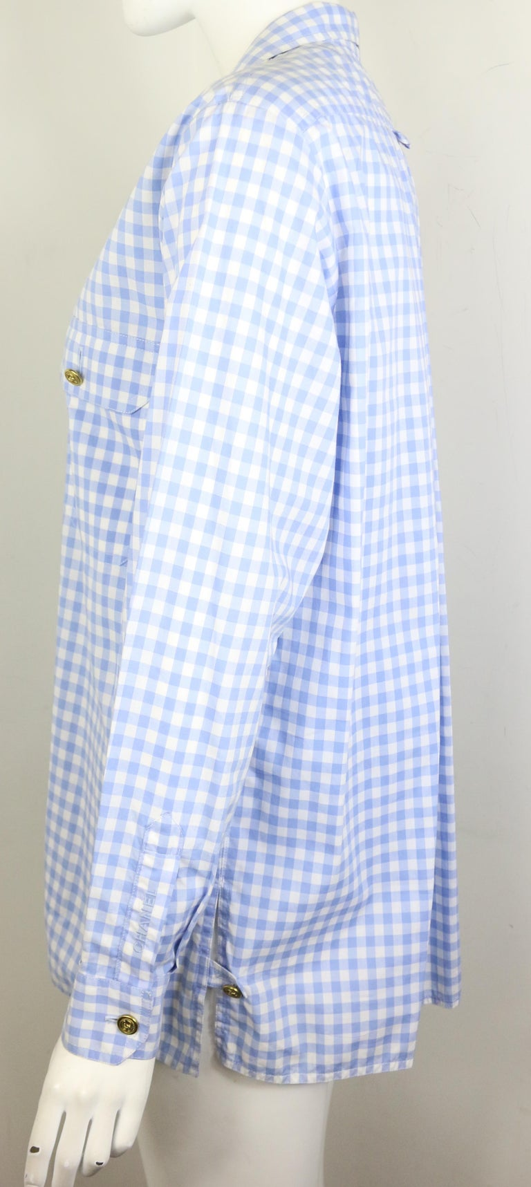 Chanel Cotton Blue and White Check Shirt and Short Pants Ensemble  For Sale 1