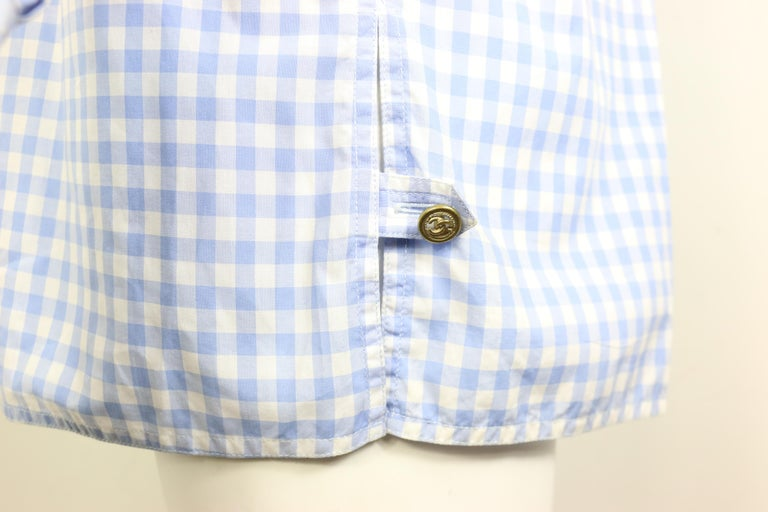 Chanel Cotton Blue and White Check Shirt and Short Pants Ensemble  For Sale 3