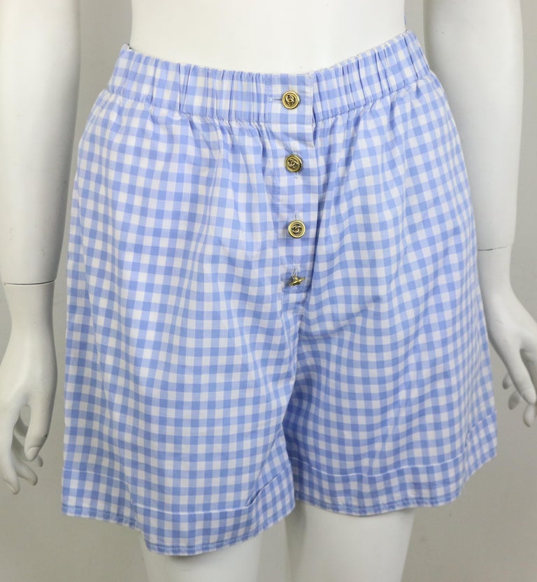 Chanel Cotton Blue and White Check Shirt and Short Pants Ensemble  For Sale 4