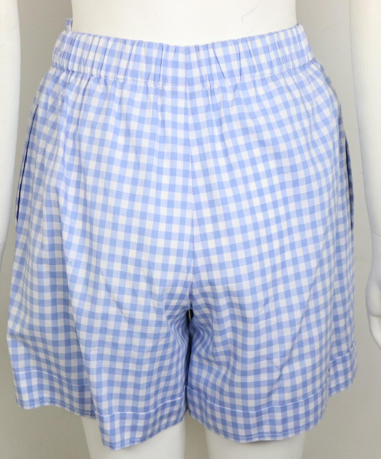 Chanel Cotton Blue and White Check Shirt and Short Pants Ensemble  For Sale 5