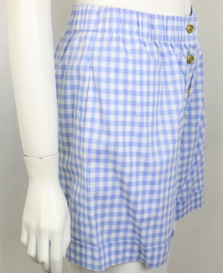 Chanel Cotton Blue and White Check Shirt and Short Pants Ensemble  For Sale 6