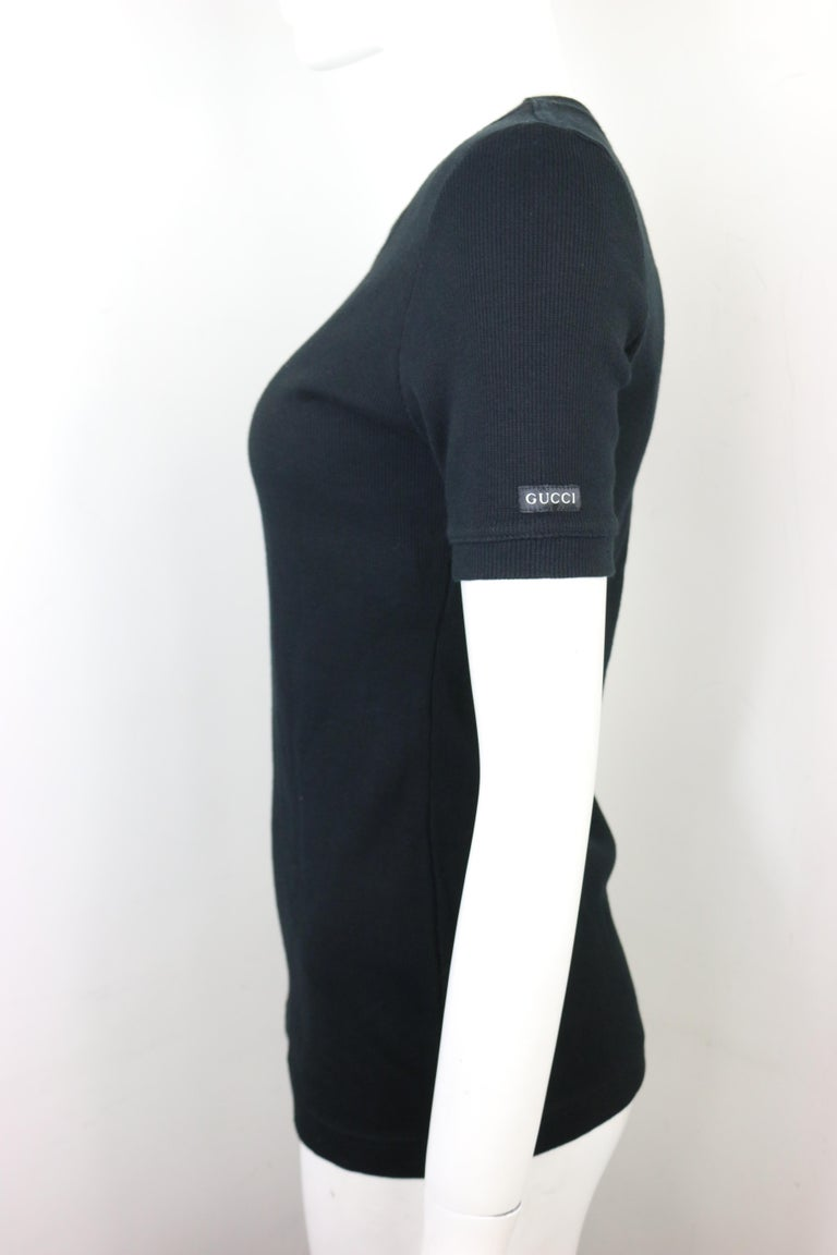 Tom Ford For Gucci Thick Cotton Black Short Sleeves Top  In New Condition For Sale In Sheung Wan, HK