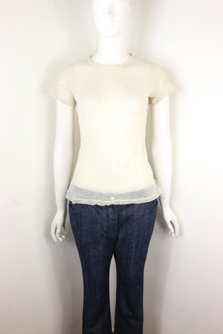 White Jil Sander Wool and Silk Ivory Knitted Short Sleeves Top For Sale