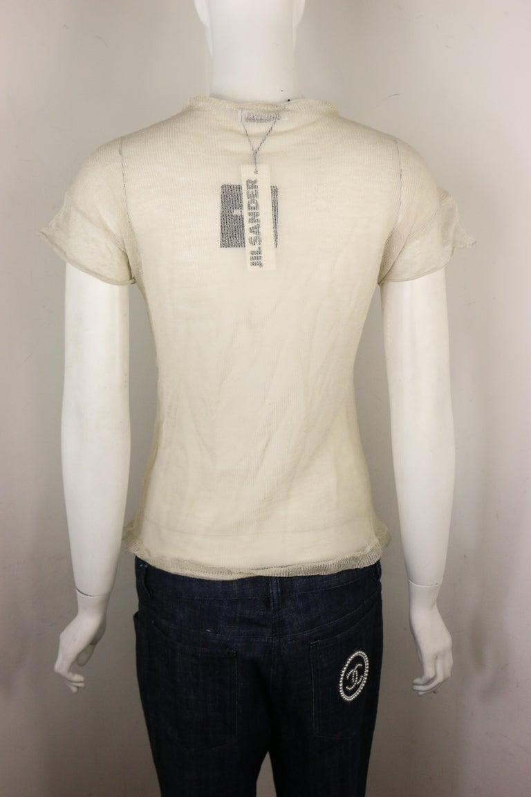 Jil Sander Wool and Silk Ivory Knitted Short Sleeves Top For Sale 1