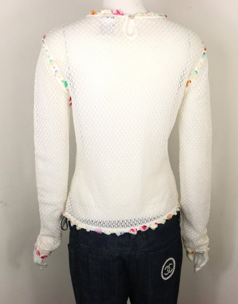 Chanel White Cotton Knitted with Inserted Colours Silk Trims Long Sleeves Top For Sale 1
