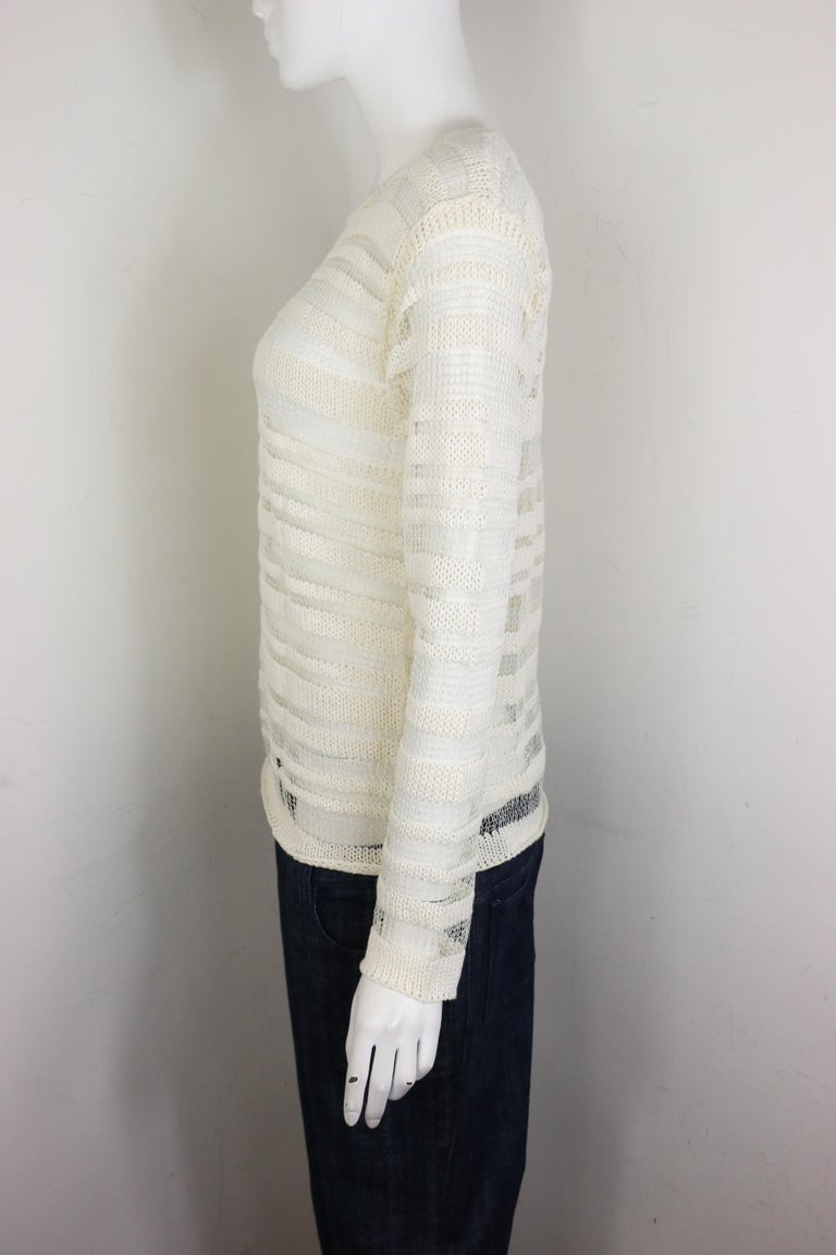 Women's Dolce and Gabbana White Cotton and Silk Knitted Mesh Long Sleeves Sweater Top  For Sale