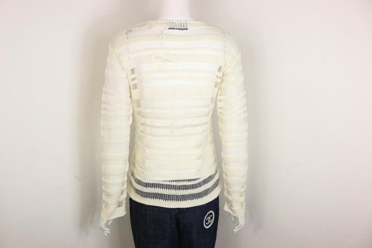 Dolce and Gabbana White Cotton and Silk Knitted Mesh Long Sleeves Sweater Top  For Sale 1