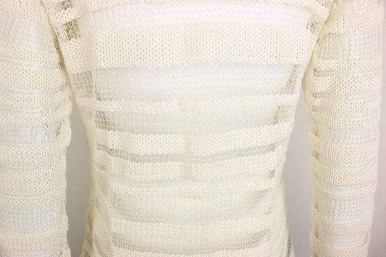 Dolce and Gabbana White Cotton and Silk Knitted Mesh Long Sleeves Sweater Top  For Sale 2