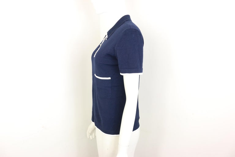 Women's Chanel Navy with White Piping Cotton Knitted Cropped Short Sleeves Cardigan  For Sale