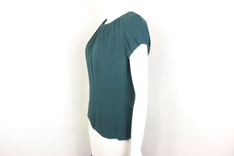 Celine Green Silk Short Sleeves Blouse  In Excellent Condition For Sale In Sheung Wan, HK