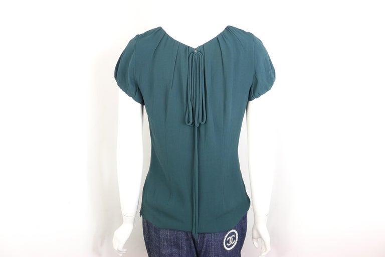 Women's Celine Green Silk Short Sleeves Blouse  For Sale