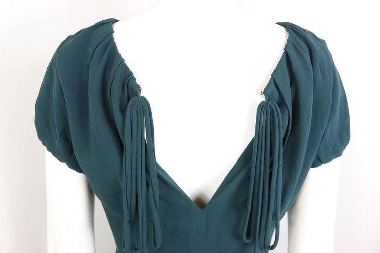 Celine Green Silk Short Sleeves Blouse  For Sale 1
